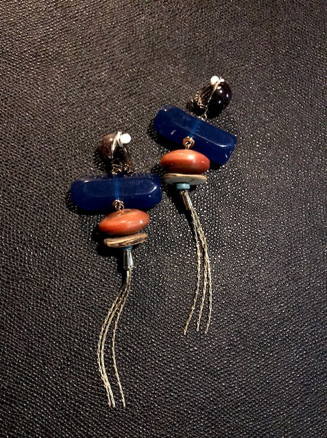 Tanemmerk Resin Clip Earrings - Blue with Gold Fringe - Hand Crafted in Spain