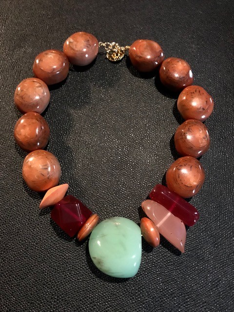 Tanemmerk Resin Necklace - Short Coral Red and Multi Colour - Hand Crafted in Spain