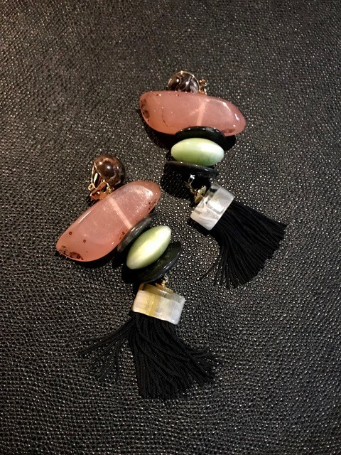 Tanemmerk Resin Clip Earrings - Pink Stack with Black Tassel - Hand Crafted in Spain