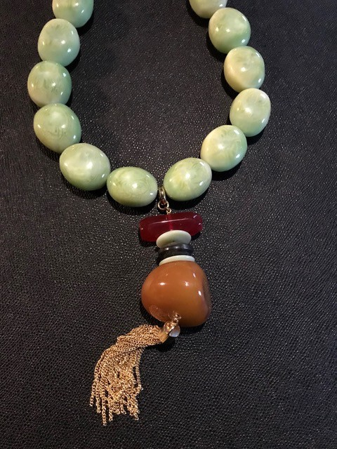 Tanemmerk Resin Necklace - Large Green Pebble with Gold Fringe - Hand Crafted in Spain