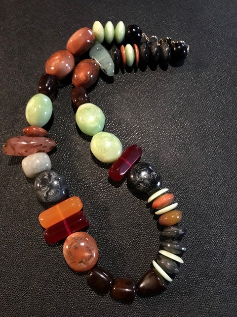 Tanemmerk Resin Necklace - Long Multi Colour - Hand Crafted in Spain