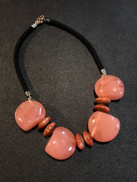 Tanemmerk Resin Necklace - Short Pink on Black Cord - Hand Crafted in Spain