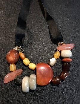 Tanemmerk Resin Necklace - Double Strand Multi Colour with Ribbon - Hand Crafted in Spain