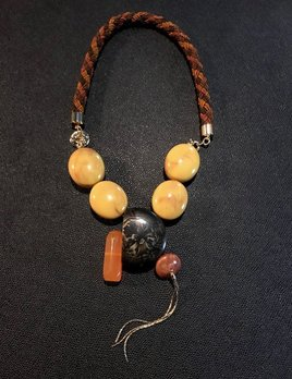 Tanemmerk Resin Necklace - Yellow with Gold Friinge on Cord - Hand Crafted in Spain