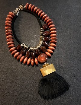 Tanemmerk Resin Necklace - Double Strand Burgundy Stack with Black Tassel  - Hand Crafted in Spain