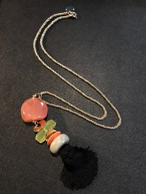 Tanemmerk Resin Necklace - Long Pendant on Gold Chain with Black Tassel - Hand Crafted in Spain