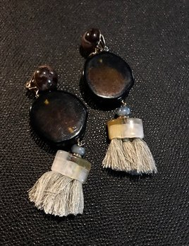 Tanemmerk Resin Clip Earrings - Amber with Grey Tassel - Hand Crafted in Spain