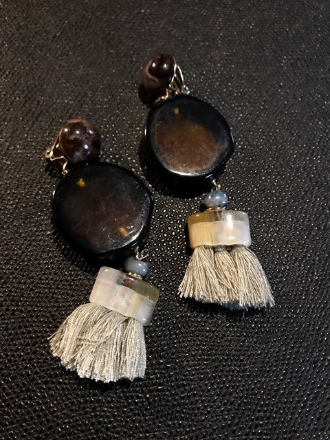 Tanemmerk Resin Clip Earrings - Amber with Grey Tassel - Hand Crafted in Spain