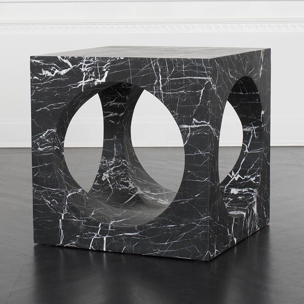 "Kelly Wearstler Kelly Wearstler - Selby Side Table - Negro Marquina Marble - 24"" W x 24""H x 24""D Hole Diameter: 18"""