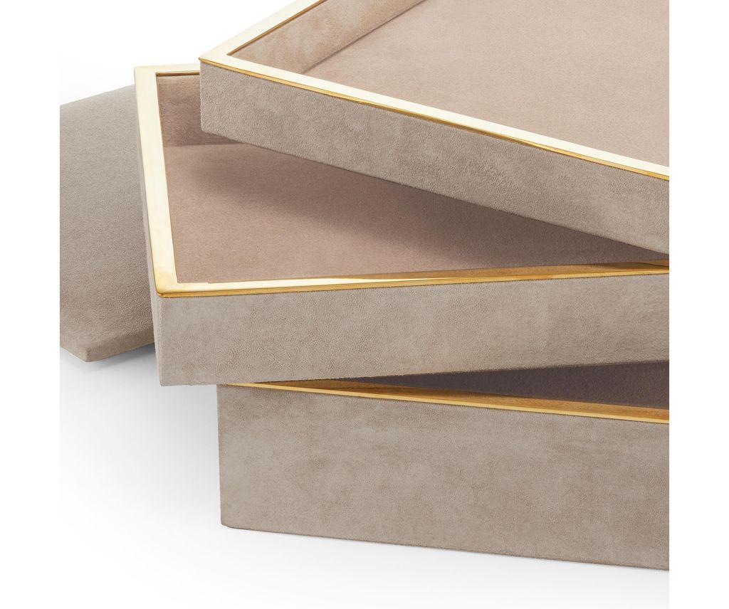 Aerin AERIN - Valentina Velvet Stacked Jewellery Box - 29x21.5xm H15cm - Dune