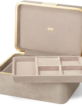 Aerin AERIN - Beauvais Suede Jewellery Box - 27x19cm H12.5cm - Dune