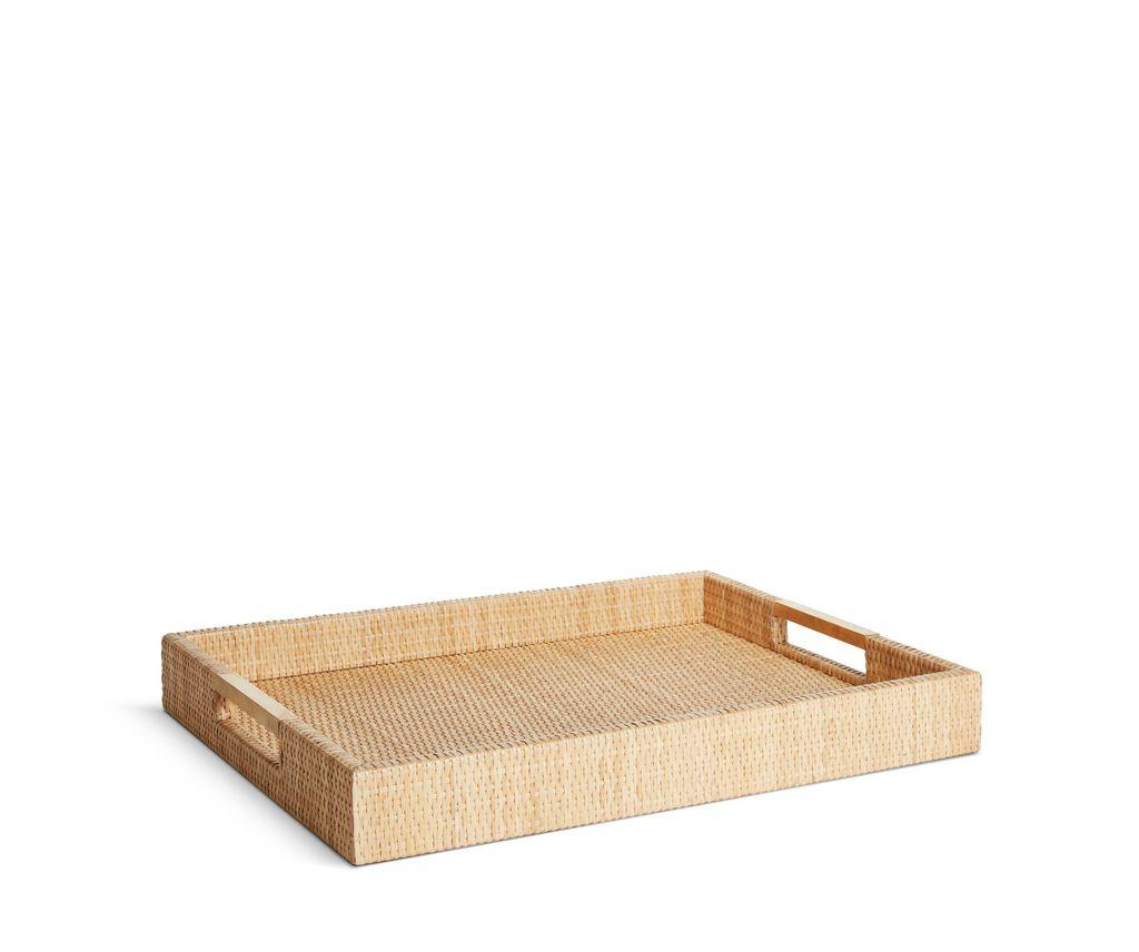 "AERIN - Wainscott Woven Tray - Dimension: 20""l x 14""w x 2""h - Cane, Brass"