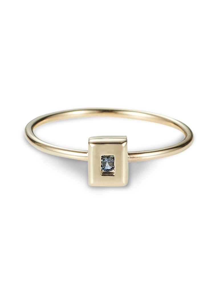 Luke Rose - Static Rock Ring - 9ct Yellow Gold - Available in Black, White, Pink, Blue, Yellow Sapphire, Tsavorite Garnet and Amethyst