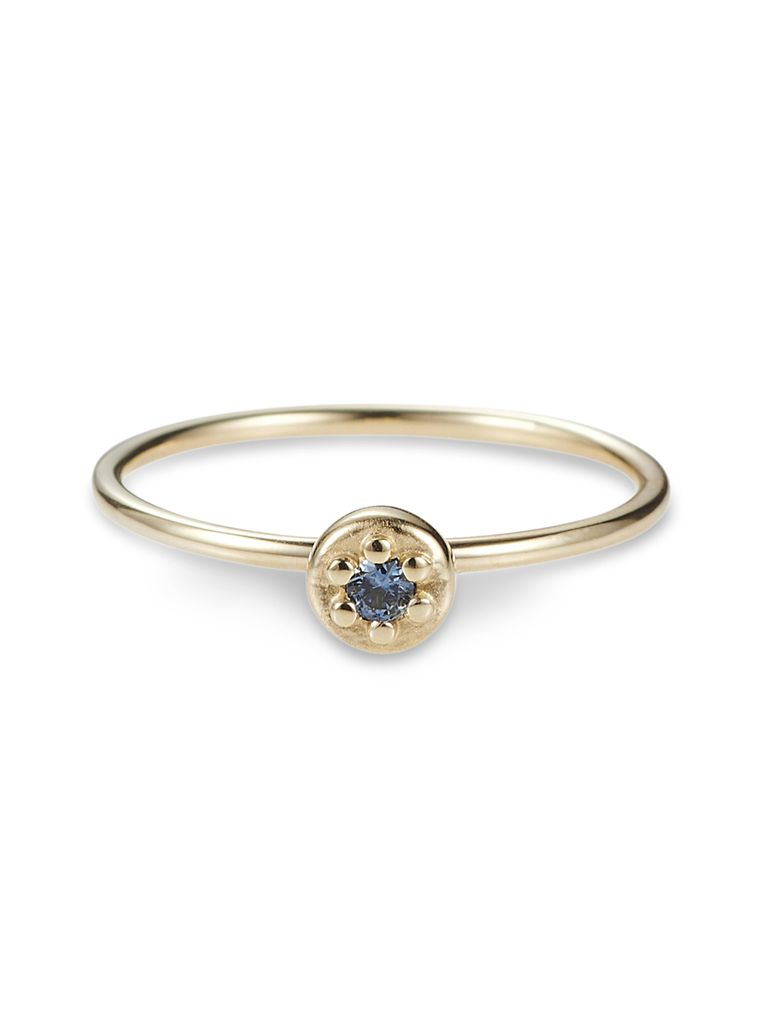 Luke Rose - Poppy Rock Ring - 9ct Yellow Gold - Available in Black, White, Pink, Blue, Yellow Sapphire, Tsavorite Garnet and Amethyst