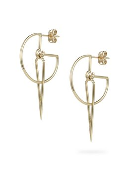 Luke Rose - Sundial Hoop Earrings - 9ct Yellow Gold