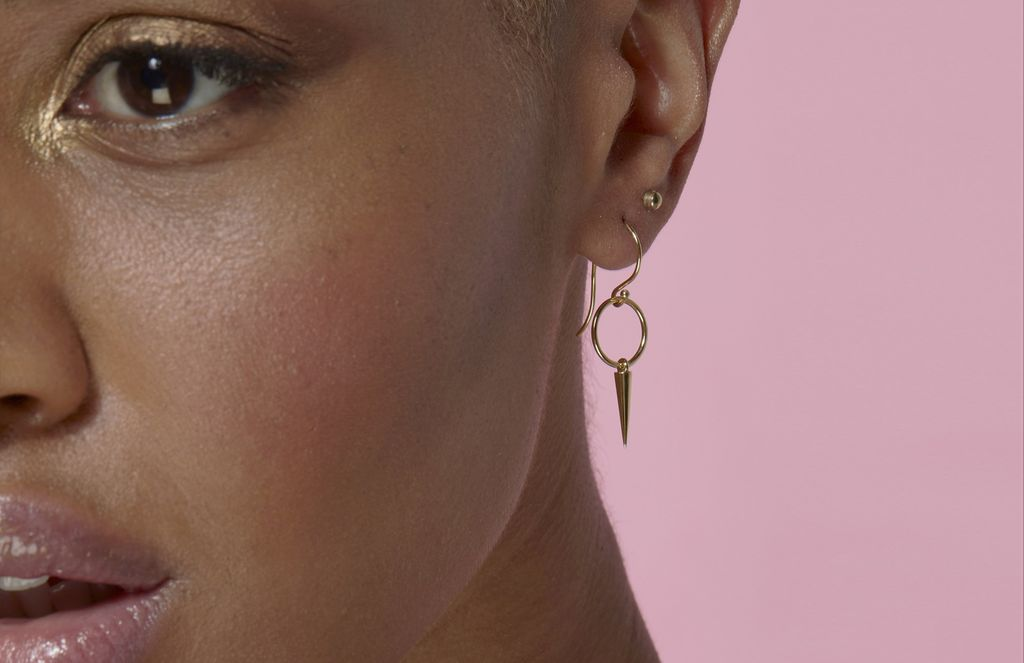 Luke Rose - Hooked Hoop Pendulum Earrings - 9ct Yellow Gold