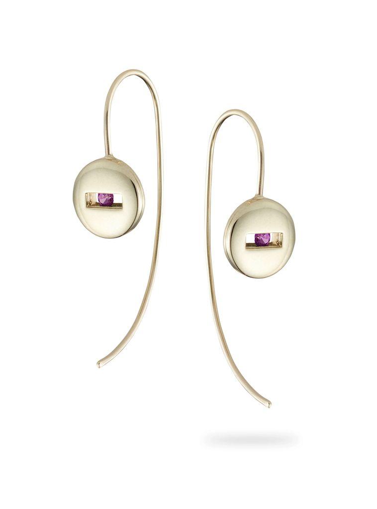 Luke Rose - Rolling Rock Ear Wire Earrings - 9ct Yellow Gold - Available in Black, White, Pink, Blue, Yellow Sapphire, Tsavorite Garnet and Amethyst