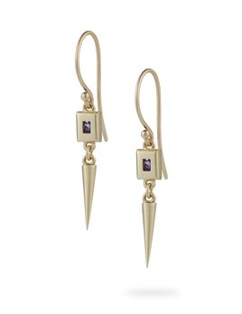 Luke Rose - Static Rock Pendulum Earrings - 9ct Yellow Gold - Available in Black, White, Pink, Blue, Yellow Sapphire, Tsavorite Garnet and Amethyst