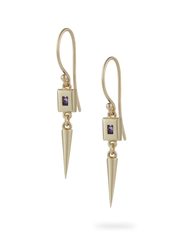 Luke Rose - Static Rock Pendulum Earrings - 9ct Yellow Gold - Available in Black, White, Pink, Blue, Yellow Sapphire, Tsavorite Garnet and Amethyst
