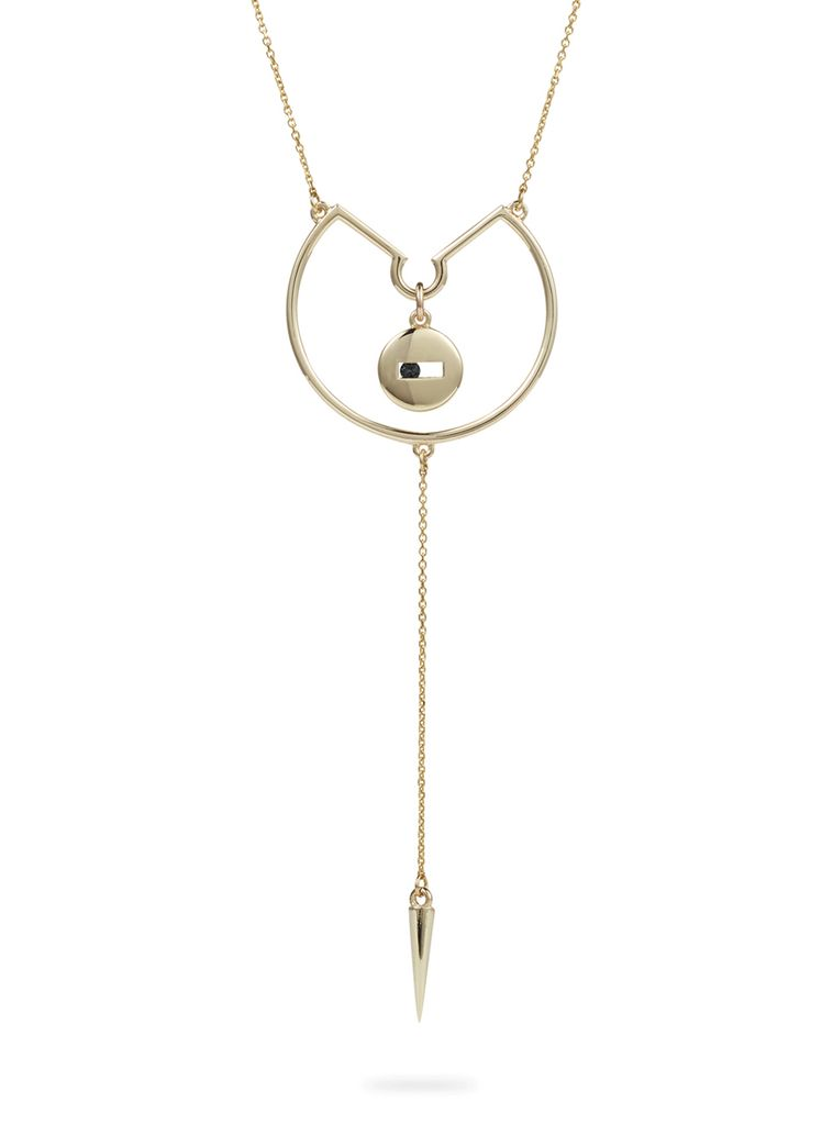 Luke Rose - Rolling Rock Pendulum Hoop Necklace - 9ct Yellow Gold - Available in Black, White, Pink, Blue, Yellow Sapphire, Tsavorite Garnet and Amethyst