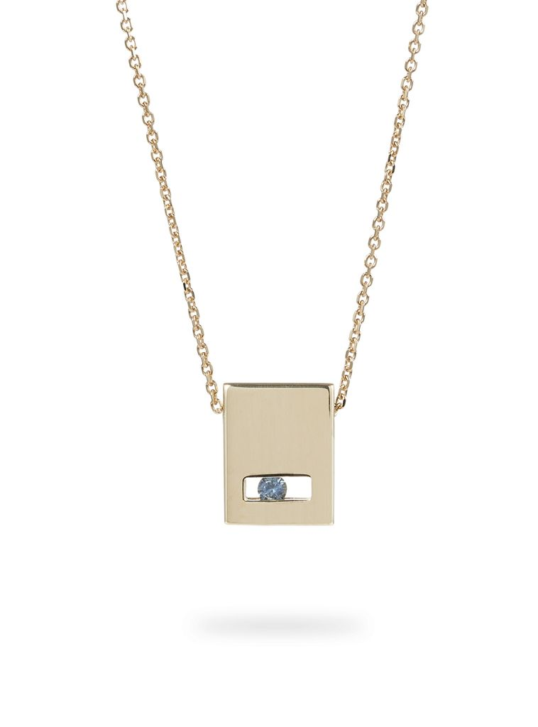 Luke Rose - Slate Necklace - 9ct Yellow Gold - Available in Black, White, Pink, Blue, Yellow Sapphire, Tsavorite Garnet and Amethyst