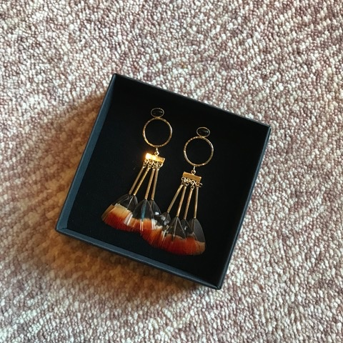 Stalactite Bo Steppe Feather Earrings - Onyx with Orange - Gold Plated - Paris