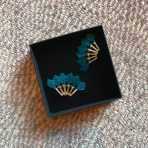 Stalactite Bo Parrot Feather Earrings - Teal - Gold Plated - Paris
