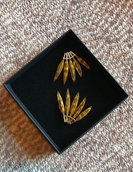 Stalactite Baby Gazelle  Feather Earrings - Tiger's Eye - Gold Plated - Paris