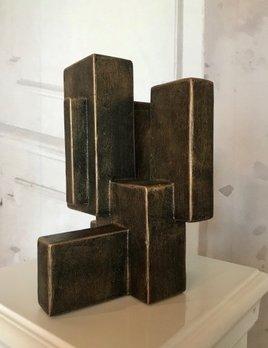 Dan Schneiger Diminuitive Free Standing Sculpture #8 - Dan Schneiger Geometric Sculpture - Black Gold - 27x20cm approx