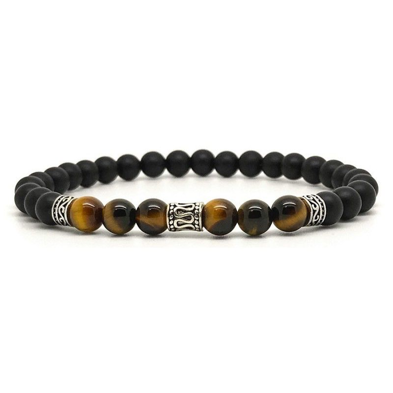 Horn & Stones Tigers Eyes 6mm Bracelet - Matte black agate and Tigers eye with sterling silver detail - Paris