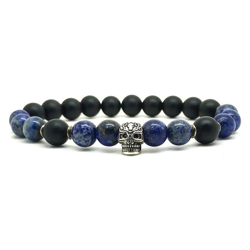 Horn & Stones Tribal Lapis 8mm Bracelet - Matte black agate and Lapis with sterling silver detail - Paris