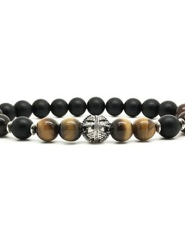 Horn & Stones Tiger and Taurus Bracelet - Matte black agate, Tiger's eye and Ox eye with sterling silver detail - Paris