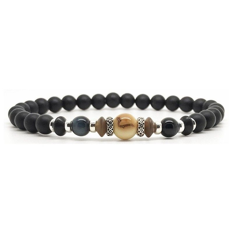 Horn & Stones Mammoth & Stones 8mm Bracelet - Matte black agate, Mammoth Ivory brown spot, Lapis, Horn and Hawk's eye with sterling silver detail - Paris