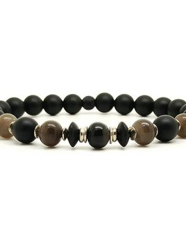 Horn & Stones 50% Horn 6mm Bracelet - Matte black agate and Horn with sterling silver detail - Paris