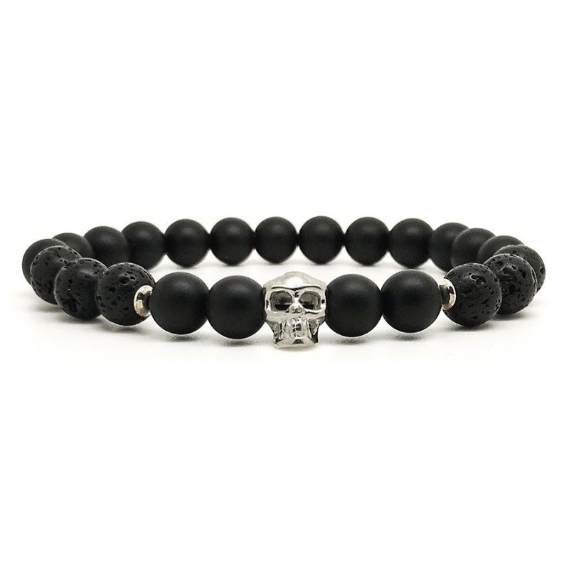 Horn & Stones Skull 8mm Bracelet - Matte black agate and lava stone with sterling silver detail - Paris