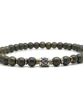 Horn & Stones Pyrite 6mm Bracelet - Matte pyrite with sterling silver detail - Paris