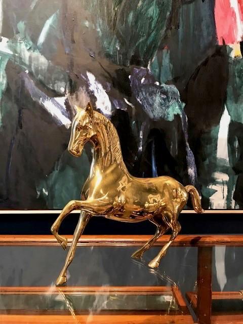 Vintage Brass Horse - H28xL38cm