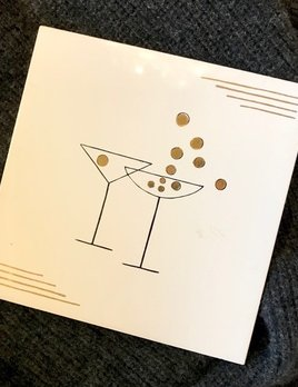 Vintage White Ceramic Tile with Gold Detail - Cocktail Hour - 15x15cm (one only)