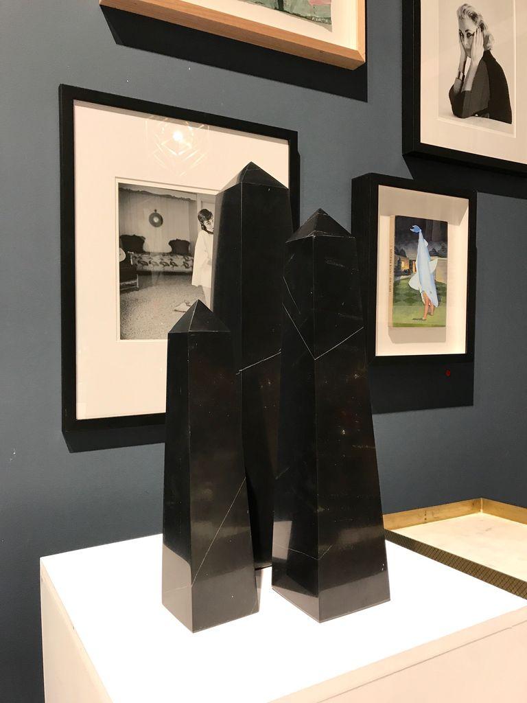 Set of Three Black Onyx Obelisks - H52, 42, 30cm