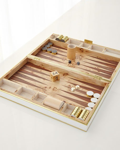 AERIN - Cream Embossed Shagreen Backgammon Set
