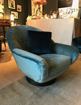 BECKER MINTY Vintage Pair of Swivel Chairs - c1970 - Re-Upholstered in Two Swivel Chairs - Brussels Wedgwood and Cornflower Velvet - H76xW78xD80 (Three Seater Sofa also available)