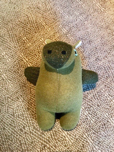 BECKER MINTY MAIIKE - Hippo: hand made in Melbourne, Australia - H 35cm W 25cm - Materials:  Recycled wool, Recycled PET stuffing, wool felt eyes. (cashmere, angora, mohair, alpaca, lurex and nylon may also be part of the composition) - Each item is individual and col