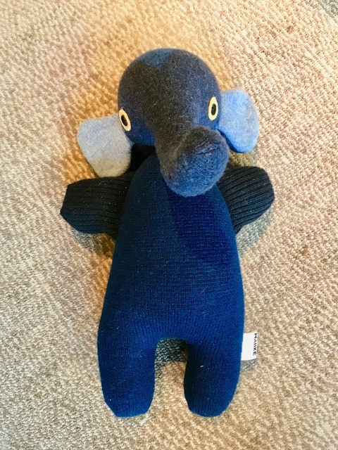 BECKER MINTY MAIIKE - Navy Elephant: hand made in Melbourne, Australia - H 35cm W 27cm - Materials:  Recycled wool, Recycled PET stuffing, wool felt eyes. (cashmere, angora, mohair, alpaca, lurex and nylon may also be part of the composition) - Each item is individual
