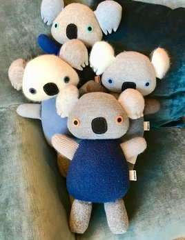 BECKER MINTY MAIIKE - Blue Koala: hand made in Melbourne, Australia - H 31cm W 21cm - Materials:  Recycled wool, Recycled PET stuffing, wool felt eyes. (cashmere, angora, mohair, alpaca, lurex and nylon may also be part of the composition) - Each item is individual an