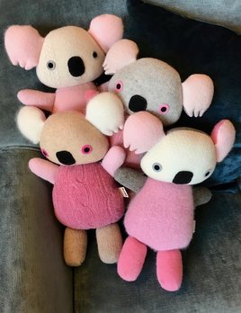 BECKER MINTY MAIIKE - Pink Koala: hand made in Melbourne, Australia - H 31cm W 21cm - Materials:  Recycled wool, Recycled PET stuffing, wool felt eyes. (cashmere, angora, mohair, alpaca, lurex and nylon may also be part of the composition) - Each item is individual an