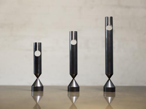 """gentner Gentner Design - Pillar Candle Sticks - Set of 3 - Darkened Brass - dia 1.5"""" x h. 6-9/16"""", h. 7-9/16"""", h. 9-7/16"""" (Candles not included)"""