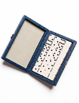 Domino Set - Blue Ostrich Leather