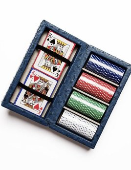 Poker Set - Blue Ostrich Leather -  Box features chips in four colors, 25 pieces of each and 2 decks of playing cards.