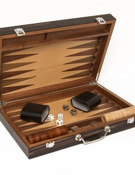 Brouk Matte Ebony Backgammon Set - Black Velvet Lining.