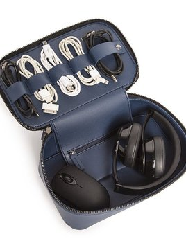 Brouk Tech Dop Kit - Blue Vegan Leather Travel Case